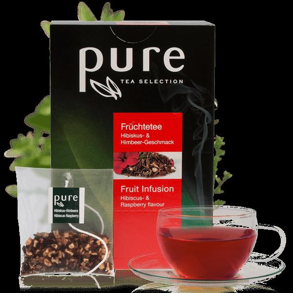 Pure Tee Hibiskus Himbeere, Früchtetee 25 Beutel, Tea Selection